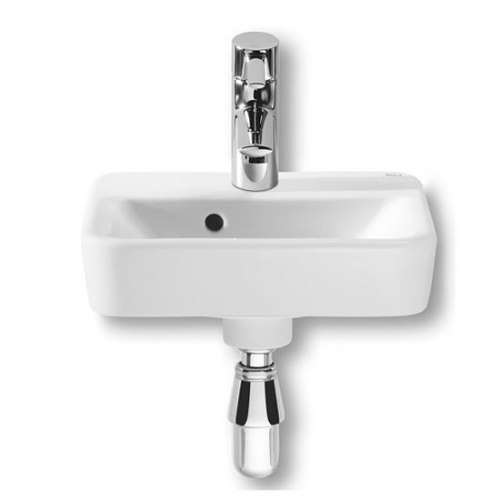 Roca Senso Square Cloakroom Basin - 350mm - 1 Tap Hole - White